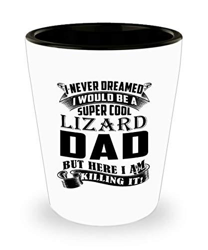 Lizard Dad Shot Glass Coffee Tea Cup Funny Birthday Gifts for Daddy Papa Pet Lov