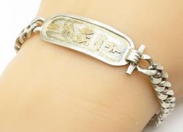 925 Silver & 18K Gold - Vintage Hieroglyphics Cartouche Chain Bracelet -... - $79.94