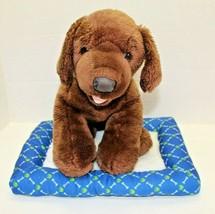 Build A Bear Brown Dog Plush With BAB Blue Bone Dog Bed BABW Promise Pet... - $29.70