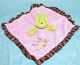 Disney Baby Winnie The Pooh Cute & Cuddly Pink Security Blanket Rattle L... - $12.95