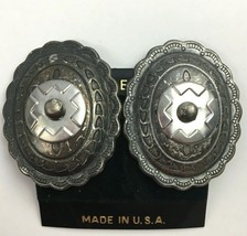 Vintage Big Western Style Clip On Earrings Oval Rustic Distressed Southw... - $7.87
