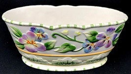 *Adorable* Fitz Floyd Easter Bunny Rabbit Pansy HALCYON  Serving Bowl - $38.69