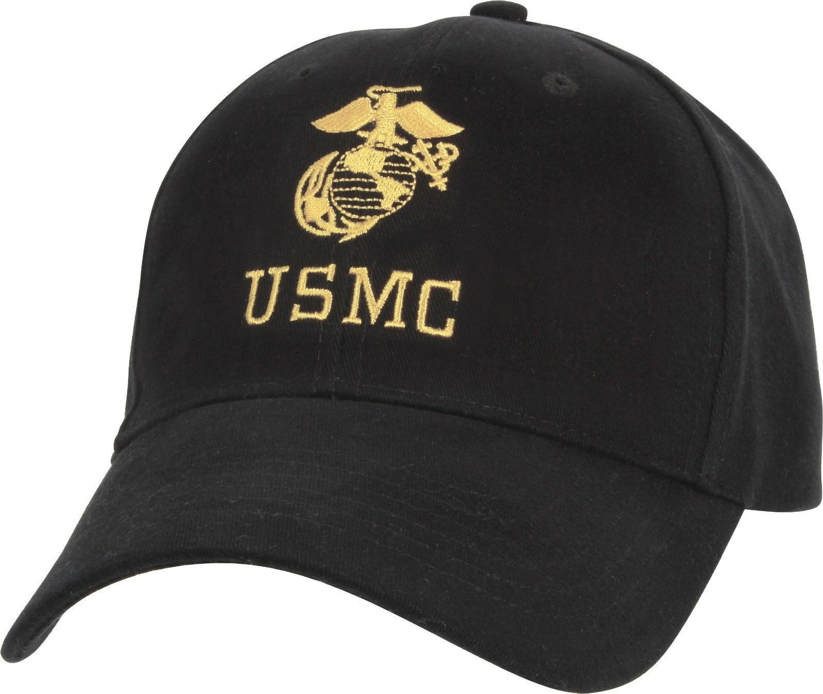 Primary image for Black USMC Globe & Anchor Logo Adjustable Cap Baseball Hat