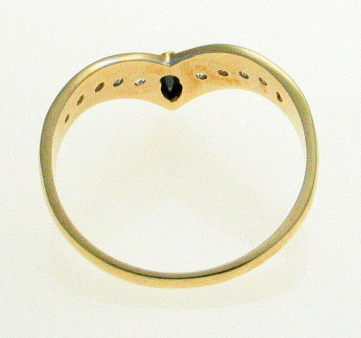 Vintage 9ct Gold Sapphire & CZ Set  Wishbone Ring Birmingham 1990