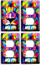 Colorful Lion Abstract Art 1 Light Switch 3 Outlet Wall Plate Covers Room Decor - $35.09