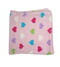 Baby Kiss Pink Heart Blanket Fleece Lovey Purple Green Blue White Securi... - $17.42