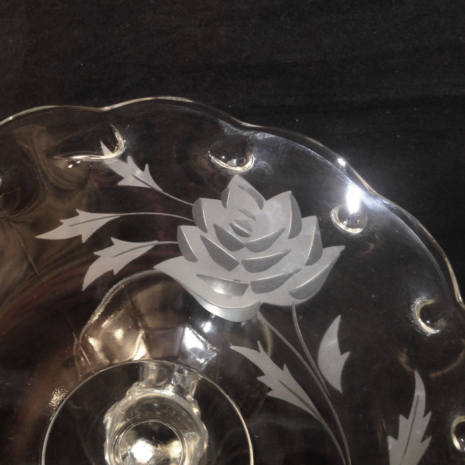 """Indiana Glass #1011 Teardrop Cake Stand Floral Etch 10 1/2"""" D x 4 3/4"""" T - $36.95"""