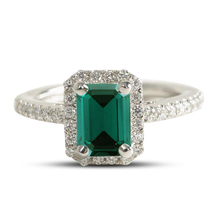 Emerald Cut Green Sapphire Womens Engagement Ring 14k White Gold Over 92... - £56.50 GBP