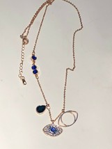 Duo Evil Eye Necklace Pendant Blue Made W/ Swarovski Rose Gold over Ster... - $30.88