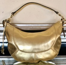 Lauren Ralph Lauren Gold Leather Small Hobo Zipper Bag  - $70.13