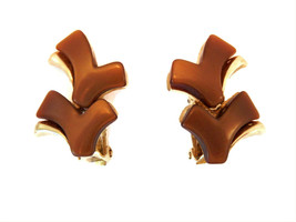 Vintage brown lucite thermoset double check style clip on earrings - $8.99