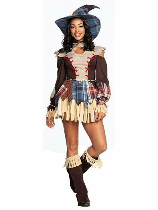 Primary image for Charades Scarecrow Sexy Plaid Dress Hat Adult Womens Halloween Costume 03729