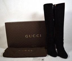 Gucci Womens Suede Softy Black Knee High Boots 36 Italy - $495.00
