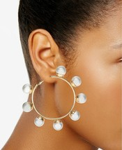 "Thalia Sodi Womens Gold Tone Large Imitation Pearl Hinge Hoop Earrings 2.9"" - $14.00"