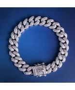 Hip Hop Bling Cuban Bracelet 12mm White Gold Iced Out Cuban Chain Link M... - $85.06