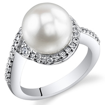 Sterling Silver Pearl & CZ Ring - $99.99
