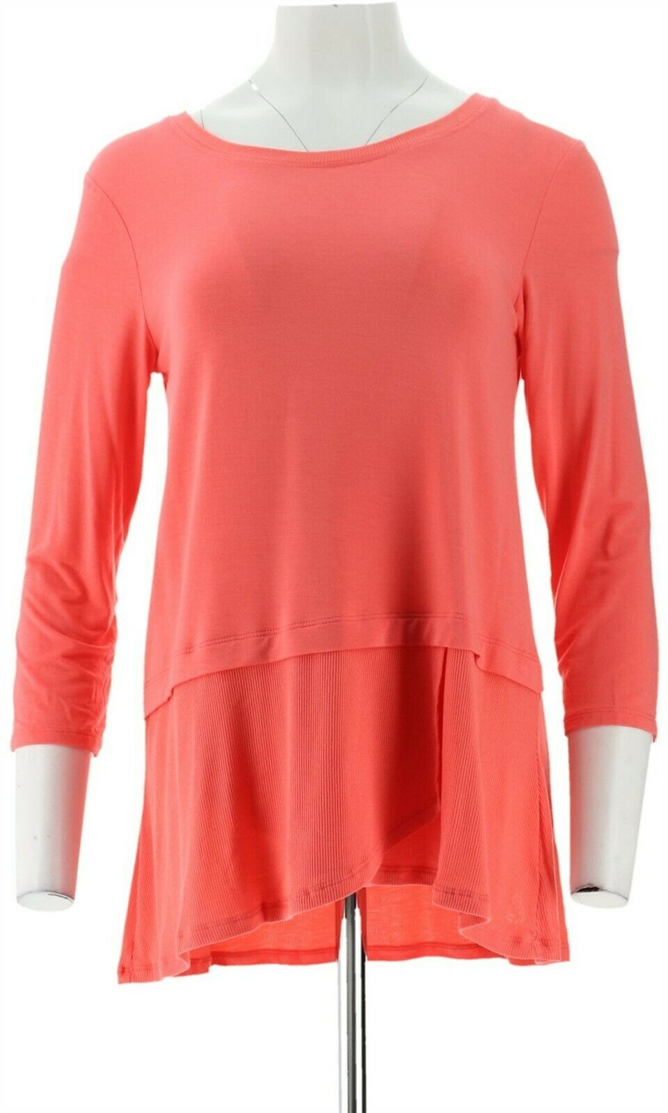 Primary image for Cuddl Duds Softwear Stretch 3/4 Slv Peplum Top Coral Glow XS NEW A346817