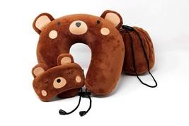 Memory Foam Travel Neck Pillow for Kids Teddy Bear Includes Eye Mask - €12,08 EUR