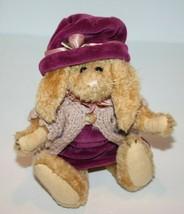 "Boyds Bears EASTER BUNNY RABBIT 8"" Purple Jumper Sweater Hat Jointed Plu... - $15.42"