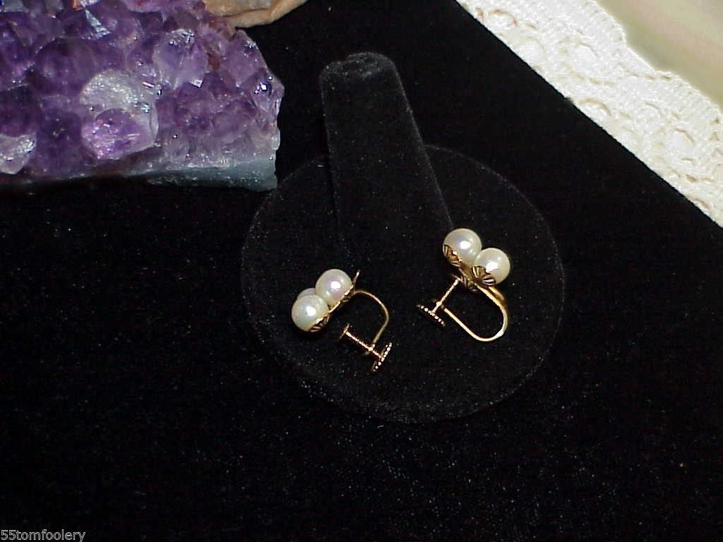 14K Antique 6 Pearl Earrings Yellow Gold Screw Back Vintage 6mm Natural Pearls