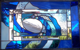 Stained Glass Window Panel blue ocean wave - $229.00