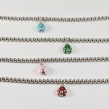 Silver 925 Bracelet Jack&co with Beads Shiny and Ladybug Enamelled - $79.74