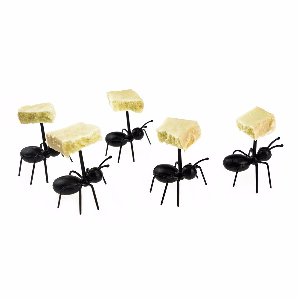 Cute Mini Ant Fruit Fork Eco Friendly Plastic Easy Decoration Kitchen Bar Kids