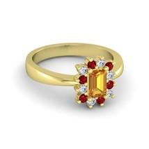 Beautiful Solid 14k Yellow Gold Emerald Cut Orange Sapphire Womens Weddi... - £371.11 GBP