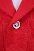 WeSC Mens Massimo Knitted True Red Cardigan Cotton Sweater NWT image 5