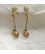 "Vintage Vendome H-A  dangle gold tone knot screw back clip 2"" earrings m... - $24.74"