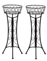 SINGLE BASKET PLANT STAND Curlicue Scrollwork Design Set of 2 - $57.70