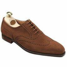 Men's Brown Oxford Suede Brouging Premium Quality Handcrafted Leather Shoes - $139.55+