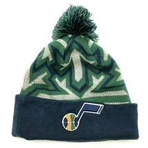 VINTAGE New Era Utah Jazz Beanie Hat Cap One Size Blue Green Pompom Embroidered - $21.63