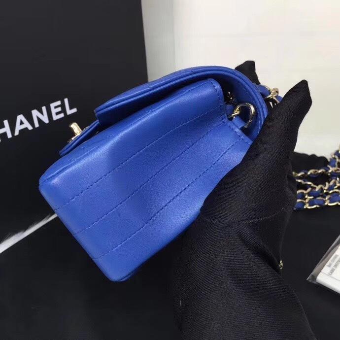 BNIB AUTH CHANEL 2019 BLUE CHEVRON LAMBSKIN LARGE MINI 20CM RECTANGULAR FLAP BAG