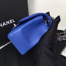 BNIB AUTH CHANEL 2019 BLUE CHEVRON LAMBSKIN LARGE MINI 20CM RECTANGULAR FLAP BAG image 5