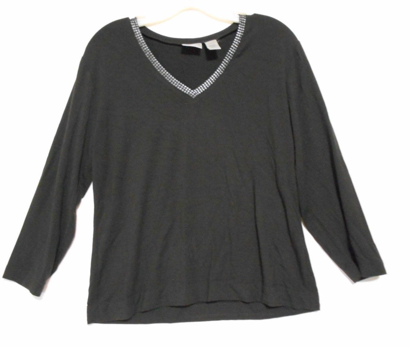 96e19b5f4ec473 Chico's Brown Metallic Trim Rayon Knit Top size 1 Long Sleeve Vee Neck -  $11.72