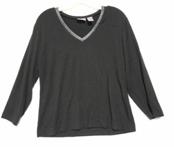 Chico's Brown Metallic Trim Rayon Knit Top  size 1 Long Sleeve Vee Neck - $11.72
