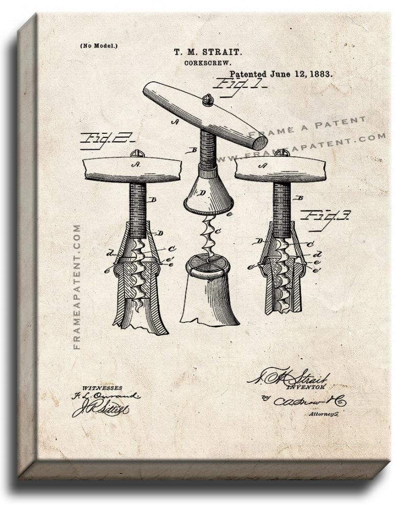 Primary image for Corkscrew Patent Print Old Look on Canvas