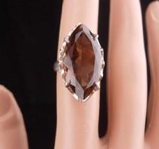 HUGE smokey Topaz Ring / sterling ring / smoky quartz / size 5 1/2 / Vin... - $225.00