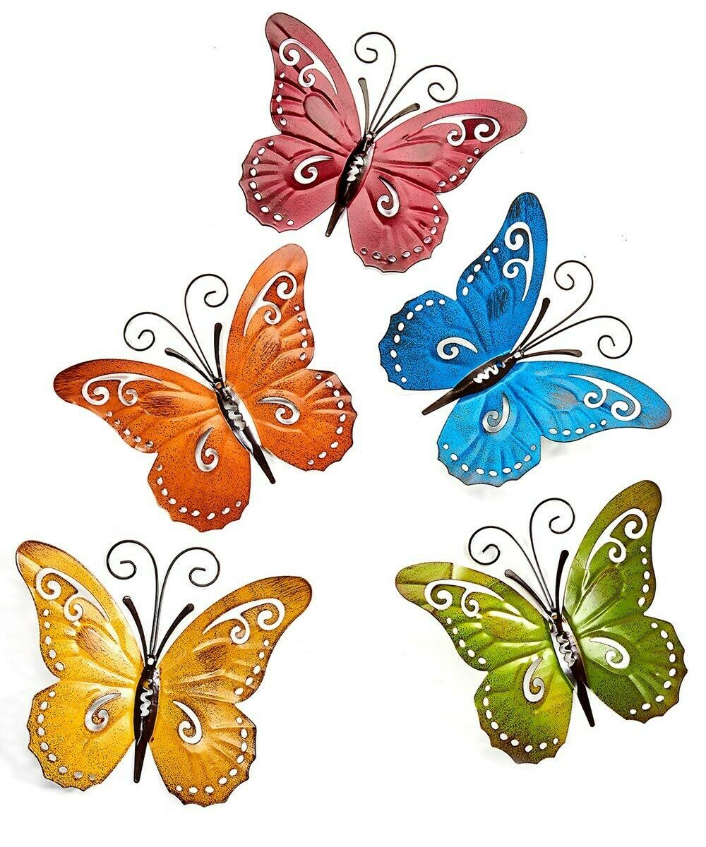 Set of 5 Butterfly Metal Wall Plaques Decor - Yellow, Green, Blue, Red, Orange