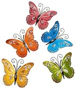 Set of 5 Butterfly Metal Wall Plaques Decor - Yellow, Green, Blue, Red, Orange - $39.59