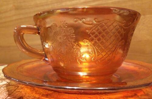 VINTAGE PEACH IRRIDESCENT CARNIVAL GLASS CUP & SAUCER MARIGOLD FLORAL LATTICE
