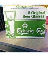 New Vintage NOS Set Of 6  Carlsberg  Beer Fluted Glasses Gold Trim Origi... - $49.98