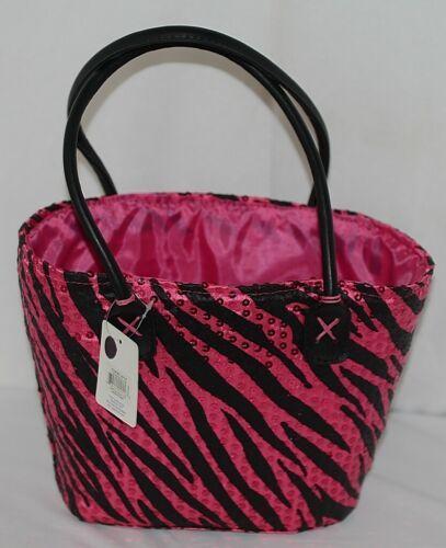 Three Cheers For Girls 29116 Fuchsia Black Zebra Print Sequin Basket Style Tote