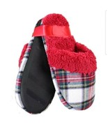 Charter Club Womens Slippers MEDIUM Red Plaid Flannel Faux Fur Lined Clo... - $17.32