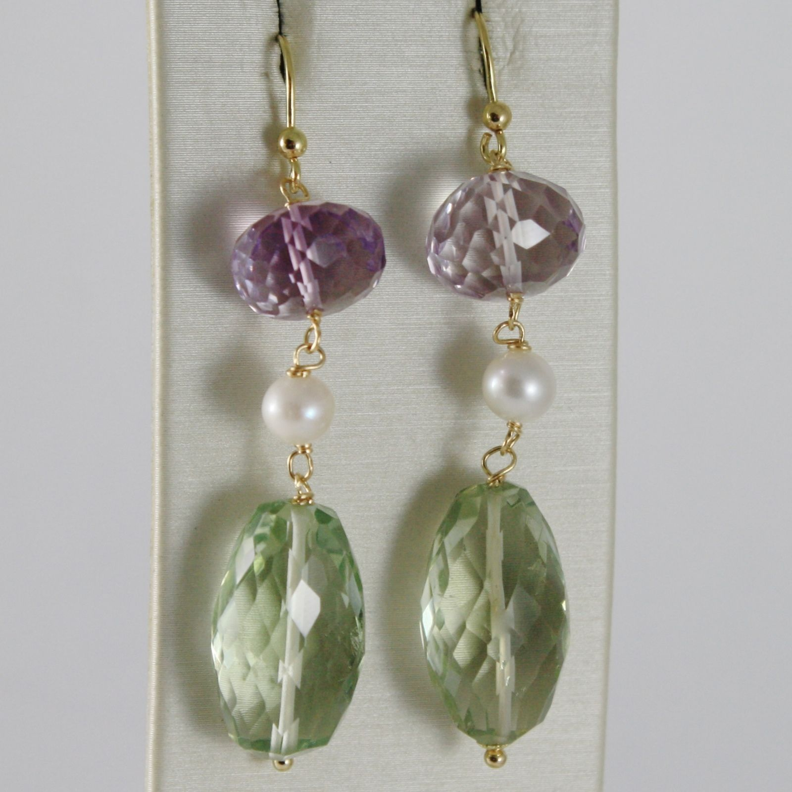SOLID 18K YELLOW GOLD PENDANT EARRINGS WITH CUSHION AMETHYST, PRASIOLITE, PEARLS