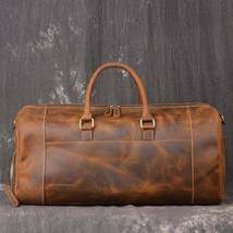 On Sale, Handmade Leather Luggage Bag, Vintage Weekend Bag, Travel Bag image 2