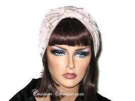 Handmade Khaki Twist Turban, Embroidered Eyelet - $65.00