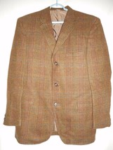 Vintage Brown Plaid Blazer Sport Coat Jacket partially lined - $29.69