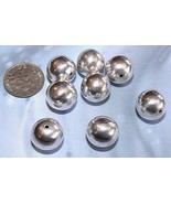 925 Sterling Silver Bali Plain Shiny Round Bead (1) 14mm - $12.10